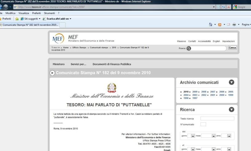 Il comunicato stampa sul sito del Ministero del Tesoro
