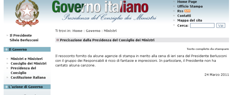 La precisazione della Presidenza del Consiglio dei Ministri