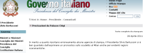Lo screenshot del comunicato stampa relativo a Silvio Berlusconi ed al Milan