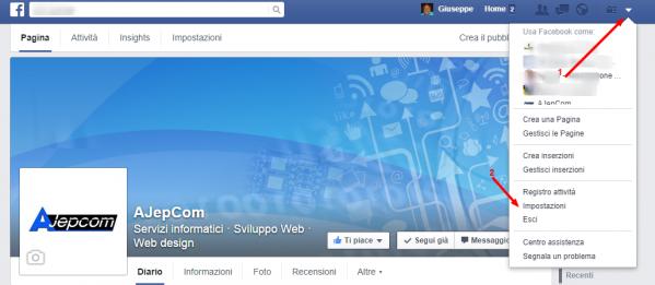 Menu Impostazioni di Facebook